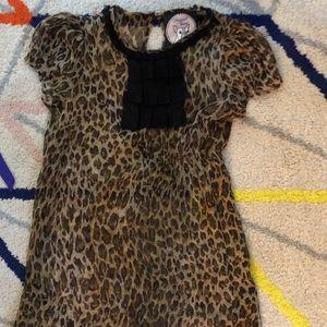 Leopard print ruffle mini dress